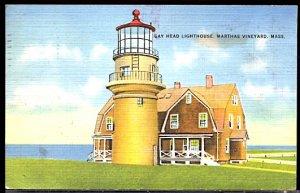 USA Postcard Gay Head Lighthouse Martha's Vinyard Mass PM 1938