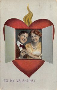 G30/ Valentine's Day Love Holiday Postcard c1910 Heart Opens Love 17