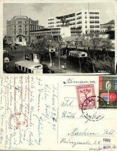 turkey, ANKARA, Street Scene, Bank, Bus (1940) RPPC, German WWII Censor Cancel