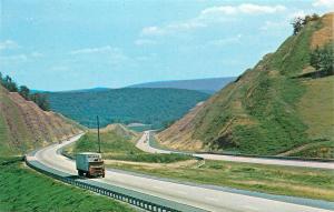 I-80 KEYSTONE SHORTWAY PENNSYLVANIA MOUNTAINS CENTRE COUNTY RIG TRACTOR POSTCARD