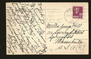 Norway Postmarked 1927 Oslo Wessels Plads Mittet Photo Postcard
