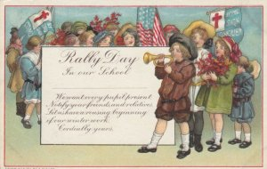 RALLY DAY, 1900-10s; Children with banners & American Flag, Boy playing trumpet