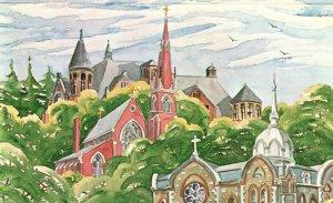 Elmira, NY, Church Trio, Spires at Main & Church Streets, Vintage Postcard g9720