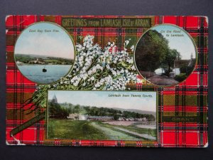Isle of Arran GREETINGS FROM LAMLASH Grant Tartan c1914 Postcard Raphael Tuck