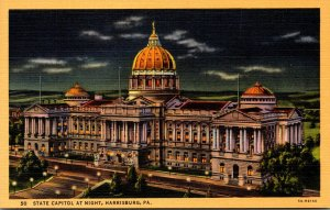Pennsylvania Harrisburg The State Capitol At Night  Curteich