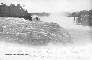 Brink of the American fall Niagara Falls Writing on Back