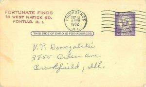 Pontiac, RI Fortunate Finds Bookstore Ad 1962 Postcard