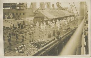 US Navy Military American Soldiers Training On Ship Deck Real Photo Postcard D16