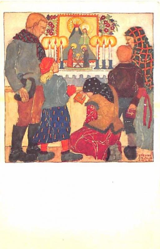 Franz Cizek's Youth Red Cross Christmas Signed Steffi Kraus Postcard