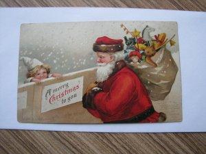 Santa Antique Christmas Postcard Red Robe Clapsaddle Int Art UDB Undivided Child