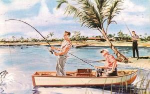1950s Leeland Lake Lehigh Acres Florida Fishing Artist Impression 617 postcard