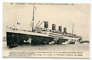 Steamer France Ocean Liner Ship Paquebot Le Havre 1910c postcard