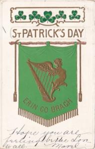 Saint Patrick's Day With Shamrocks & Gold Harp 1908