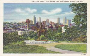 The Scout Memorial Penn Valley Park and Skyline Kansas City Missouri Curteich