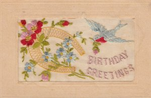 Embroidered 1914-18 ; Bird , Horseshoe & Flowers ; Birthday
