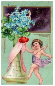 21603   Valentine  Angel dancing  around Vase of Flowers