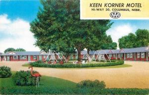 Columbus Nebraska~Keen Korner Motel~Pink Flamingo~Swingset~LincolnHighway~1950s