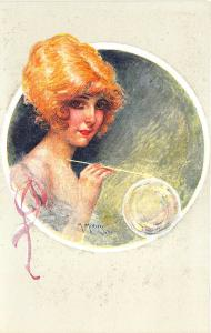 Red Head Woman Partial Nude Blowing Bubbles Maurice Milliere Postcard