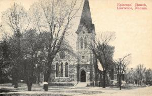 Lawrence Kansas~Episcopal Church~View Down Street~c1912 B&W Postcard