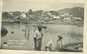 St. Thomas, V.I., CHA CHA Town, Fishing Village (1922) RPPC Postcard