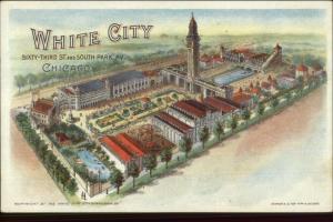 White City Amusement Park Chicago IL Birdseye View c1900 Private Mailing Card