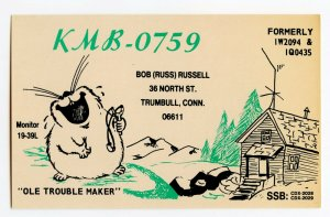Nice Used QSL Radio Card From Trumbull Conn. Connecticut KBM-0759