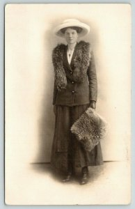 RPPC Vignette of Virtue~Lovely Lady w/Simple But Large White Hat~Fur Scarf~c1915