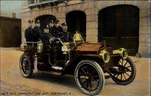 Pawtucket RI Fire Truck/Car Chief's Auto c1910 Postcard