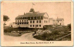 Rye North Beach, New Hampshire Postcard OCEAN WAVE HOUSE Hotel / 1908 NH Cancel