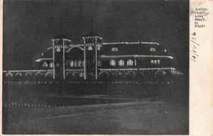 Auditorium, Long Beach California, at Night, Early Postcard, Unused