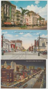 LA NEW ORLEANS LOT OF 3 Postcards Canal Street