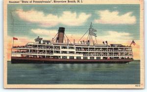 Postcard NJ Riverview Beach Steamer Ship State Of Pennsylvania  A15