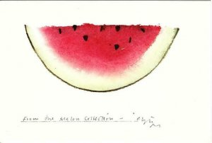 From the Melon Collection by Christopher Hewat 1977 Watermelon Art Postcard
