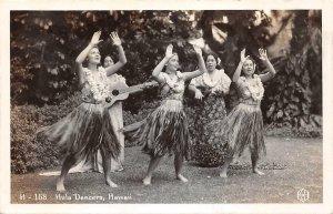 RPPC HULA DANCERS Grass Skirts Hawaii Hula Girls c1930s Vintage Photo Postcard