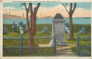 Rock Island Illinois~Cannon & Cannon Balls Atop Monument @ Fort Armstrong 1920s