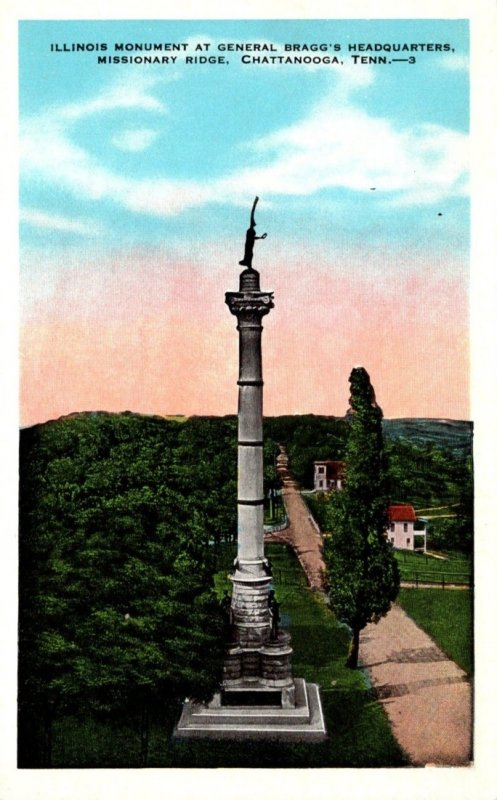 Tennessee Chattanooga Missionary Ridge Illinois Monument At General Bragg...