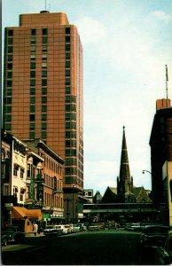 Vtg 1950s Downtown Denver Street View Brown Palace Church Colorado CO Postcard