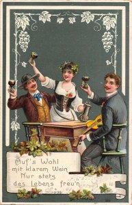 US3418 Auf's Wohl mit klarem Wein Nur stets des Lebens Freu Wine party greetings