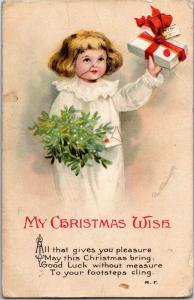 My Christmas Wish, Girl with Mistletoe, Gift, Ellen Clapsaddle Vtg Postcard M15