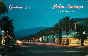 Picturesque Palm Canyon Drive Night Palm Springs California Postcard 20-2780