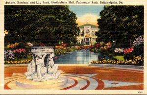 Pennsylvania Philadelphia Fairmount Park Horticultural Hall Sunken Garden and...