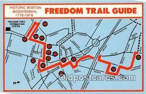 Freedom Trail Guide, Bicentennial 1776-1976 Historic Boston Postcard Post Car...