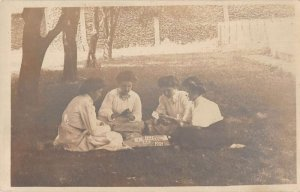 Girls Playing Cards Real Photo Vintage Postcard AA13478