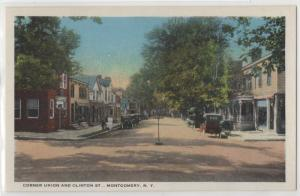 Corner of Union and Clinton St. Street Montgomery NY New York Curteich Postcard