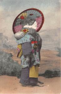 Japanese Woman Mother Baby Japan 1910c hand colored postcard