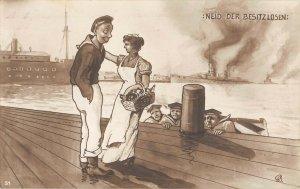 US3139 Neid der Besitzlosen Marine Couple navy sailor Signed Wietz