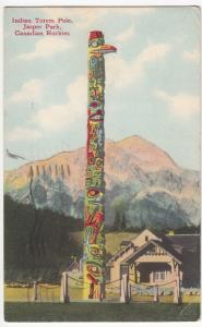 Canada; Canadian Rockies, Indian Totem Pole, Jasper Park PPC, 1949 PMK