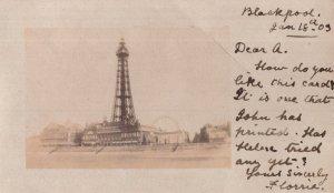 Blackpool Big Wheel 1905 Fair Antique Personal RPC Postcard