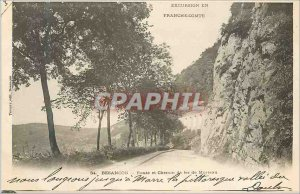 Old Postcard Besancon Road and railway Mortlake (1900 card)