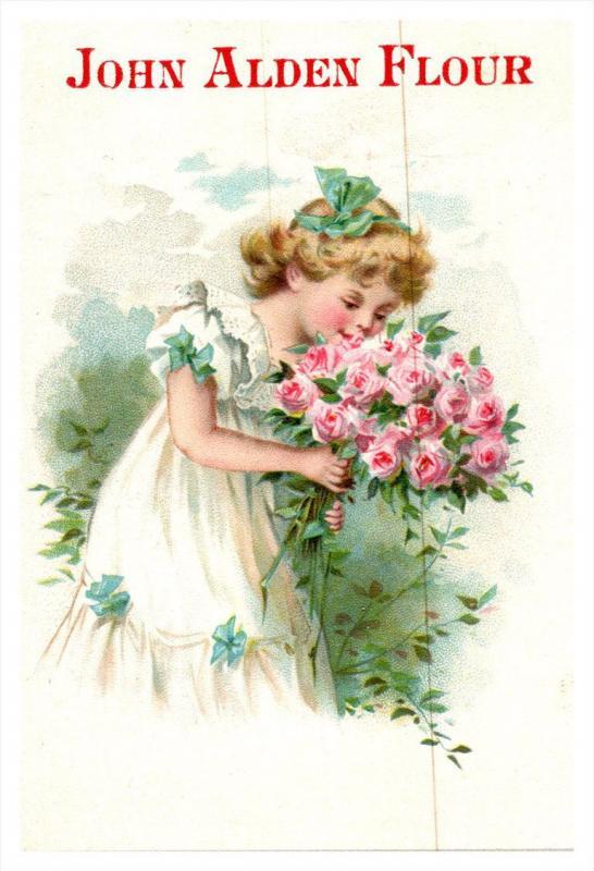 Trade Card , John Alden Flour , Girl in White dress , Bouquet  Roses  , Quine...
